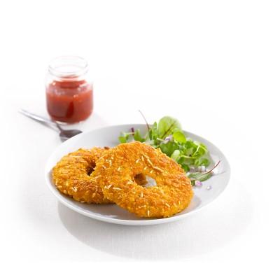 Pechuga de pollo crujiente con forma de donuts 100gr. Caja 3kg
